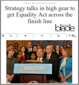 Strategy talks in high gear to get the Equality Act across the finish line